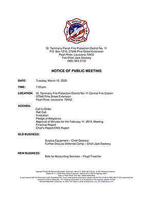 BOARD OF COMMISSIONER'S MEETING NOTICE & AGENDA