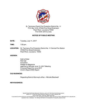 BOARD MEETING AGENDA: TUESDAY, JULY 11, 2017