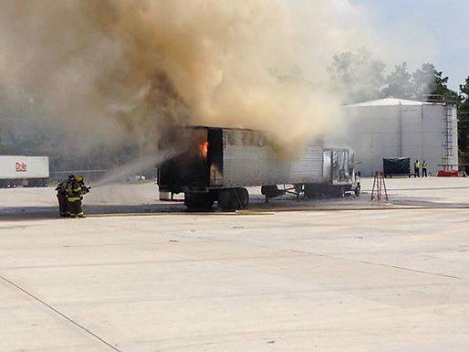 BOX TRUCK AND TRAILER FIRE