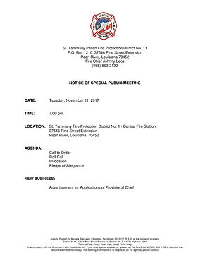 SPECIAL BOARD OF COMMISSIONER'S MEETING