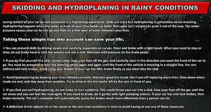 WET WEATHER SAFE DRIVING TIPS