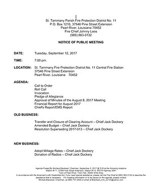 BOARD MEETING AGENDA: TUESDAY, SEPTEMBER 12, 2017