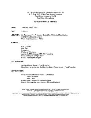 BOARD MEETING AGENDA: MAY 9, 2017