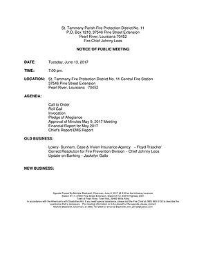 BOARD MEETING AGENDA: TUESDAY, JUNE 13, 2017