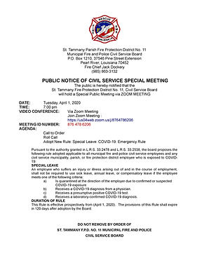 CIVIL SERVICE BOARD SPECIAL MEETING