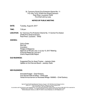 BOARD MEETING AGENDA: TUESDAY, AUGUST 8, 2017