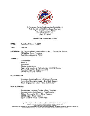 MEETING NOTICE: TUESDAY, OCTOBER 10, 2017