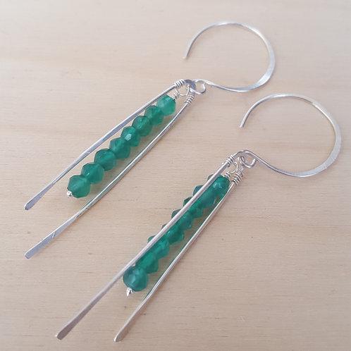 Linear Green Opal Earrings