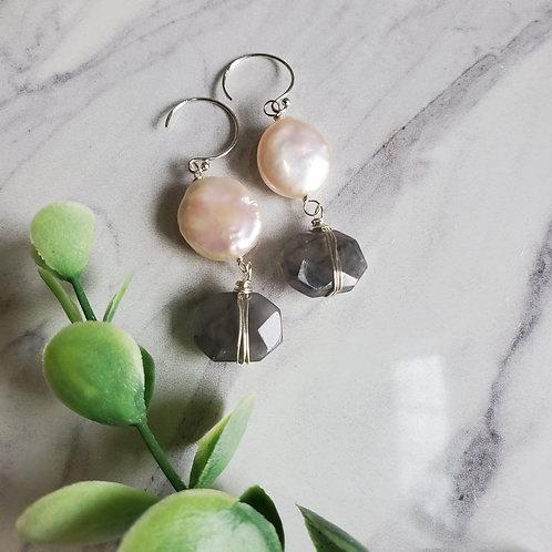 Pearl and Gray Quartz Drops