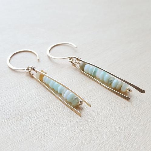 Linear Peruvian Opal Earrings