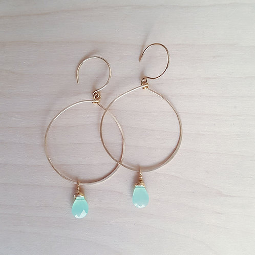 Hammered Hoops with Gemstone
