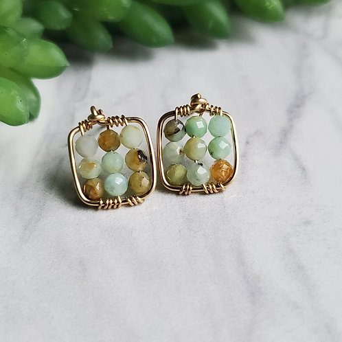 Flower Amazonite Cube Post Earrings