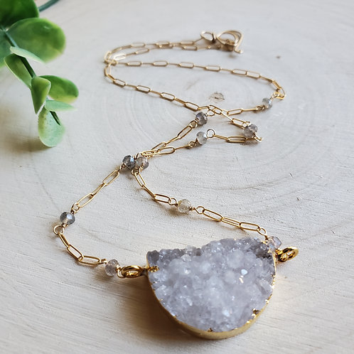 White Druzy Mini Crescent