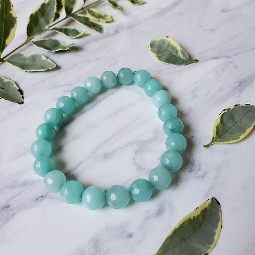 Aqua Blue Jade Stacking Bracelet