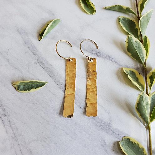 Hammered Gold Bar Earrings