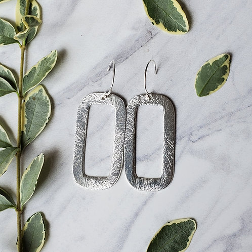 Brushed Silver Rectangle Earrings