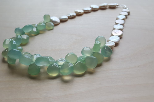 Pearl and Chalcedony Collar