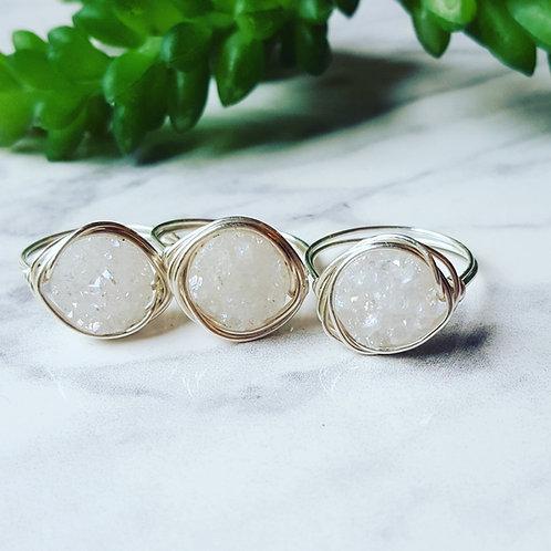 Silver Druzy Nest Rings