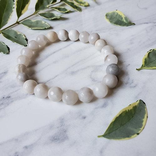 Light Gray Jade Stacking Bracelet