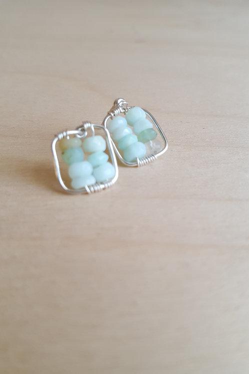 Peruvian Opal Cube Post Earrings