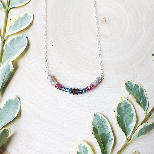 Gemstone Bar Necklace- Ombre