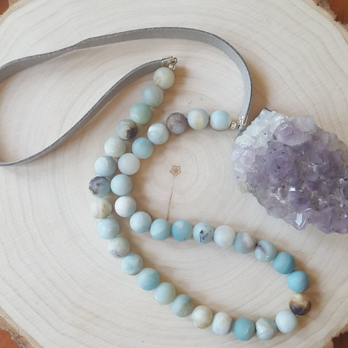 Frosted Amazonite and Vegan Suede