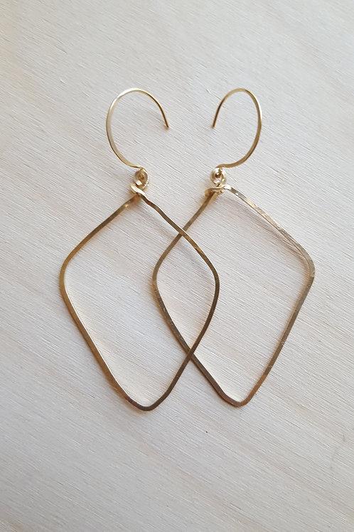 Square Gold Arrowhead Earrings