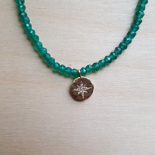 Green Onyx and CZ Charm Choker