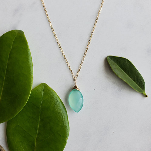 Aqua Chalcedony Leaf Necklace