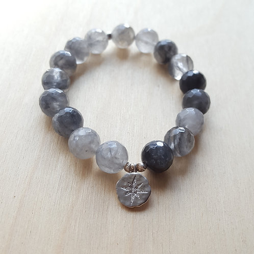 Gray Quartz Charm Bracelet