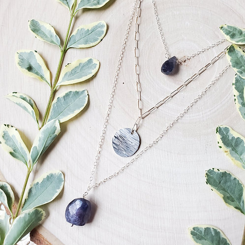 3 Layer Iolite Necklace