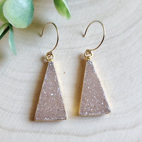 Triangle Druzy Drop Earrings