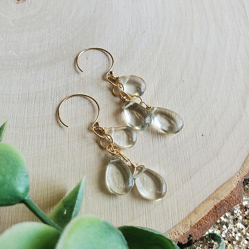 Green Amethyst Waterfall Earrings