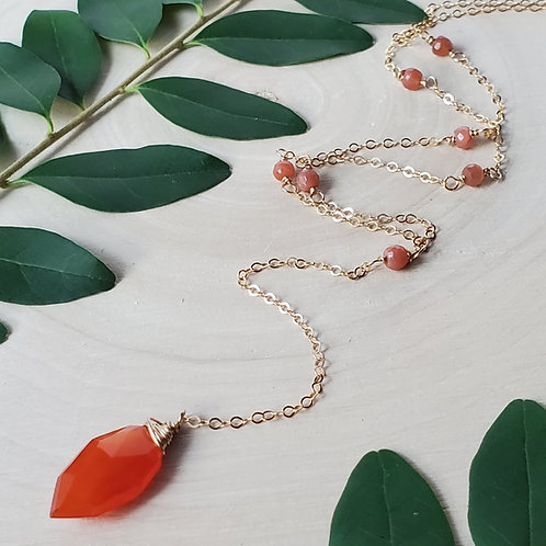 Garnet Y-necklace