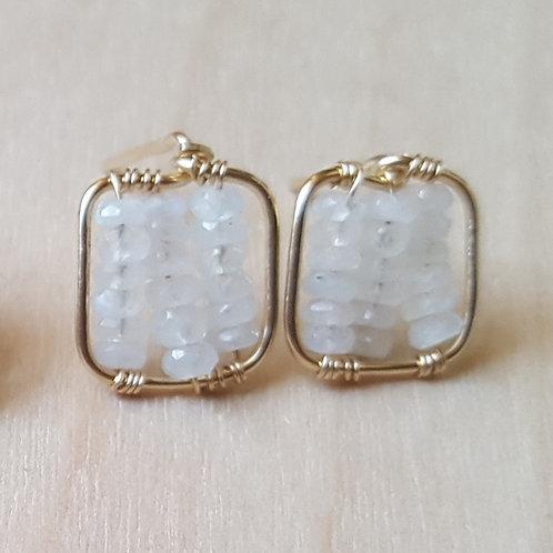 Moonstone Cube Post Earrings