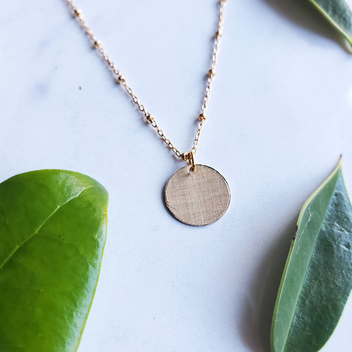 Brushed Tiny Disc Necklace