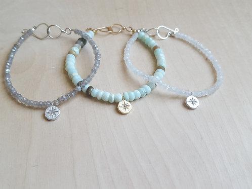 Gemstone and CZ Charm Bracelet