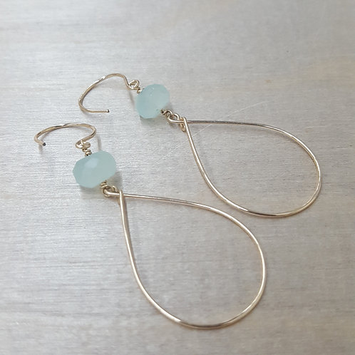 Aqua Hammered Teardrops