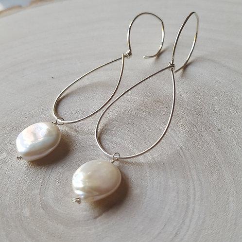 Teardrop Coin Pearl Earrings