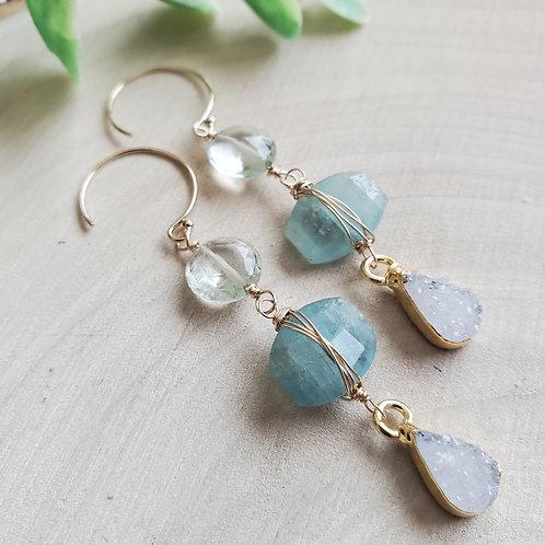 Aquamarine Druzy Earrings