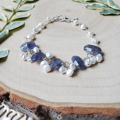 Iolite and Pearl Bracelet
