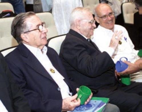 Jether, Dom Paulo Evaristo Arns e Oscar Beozzo no curso de verão do Cesep em São Paulo