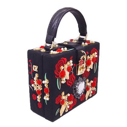 Fashion Leather Embroidered Mini Women's Handbag- Black