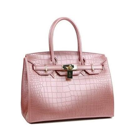 Beachkins Waterproof Crocodile Top handle Big Ladies Handbag in Rose Pink