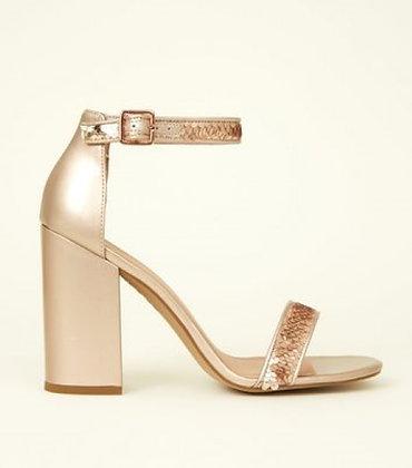 Metallic Leather Rose Gold Block Heeled Sequin Women Shoes