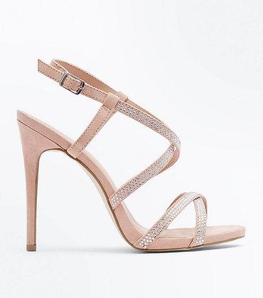 Fashion Stiletto Open Toe Ankle Strap Nude Women's Shoes