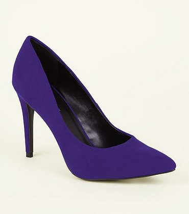 Fashion Suede Purple Pointed Toe Court Women Shoes