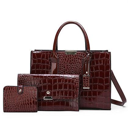Crocodile Skin 3-in-1 Fashion Women's Handbag Set- Brown