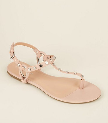 Fashion Nude Studded Ankle Strap Women Flat Sandals
