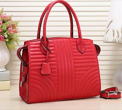 Faux Leather Striped Fashion Women's Handbag-Red